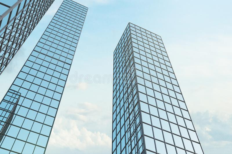 Grid glass skyscraper. On sky background with clouds. Downtown and office concept. 3D Rendering stock image
