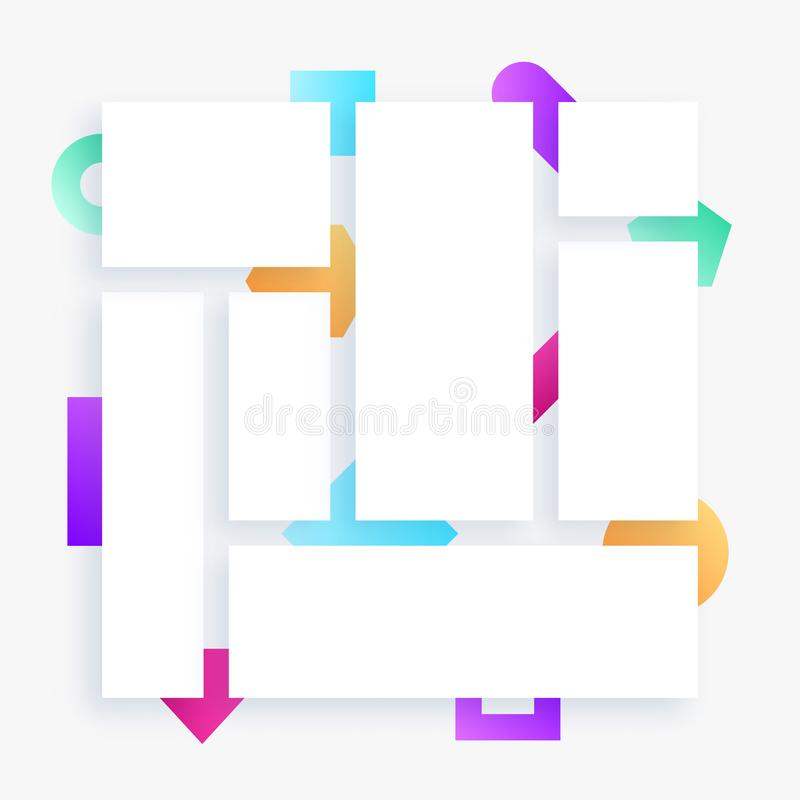 Grid layout, template, with colorful shapes in background, empty banners stock illustration