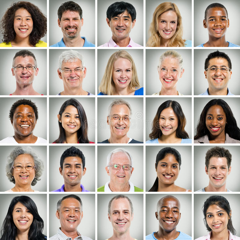Free Grid Of Close Ups Of Smiling People Stock Photography - 44412482