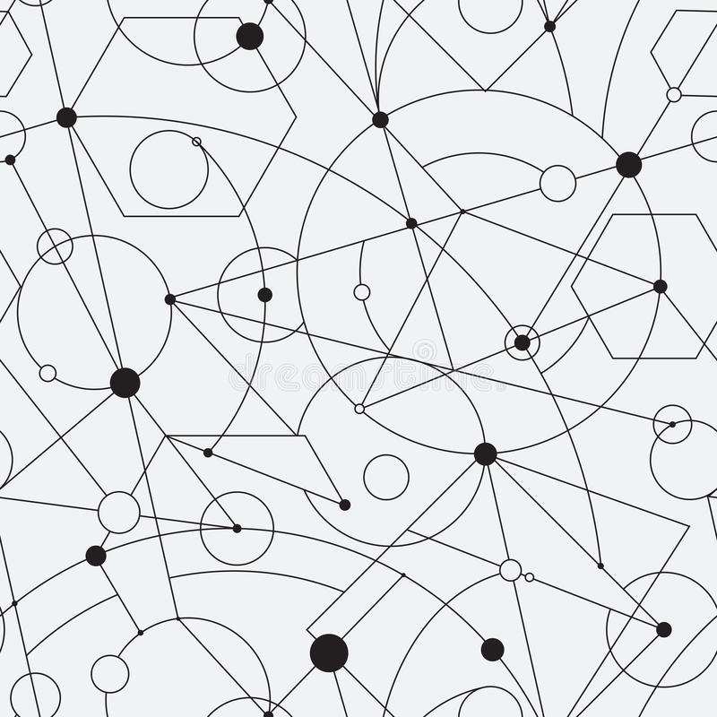 Grid seamless pattern with random geometric shapes and lines vector illustration