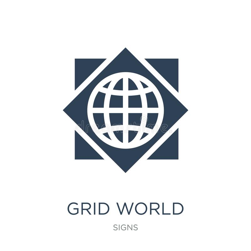 Grid world icon in trendy design style. grid world icon isolated on white background. grid world vector icon simple and modern. Flat symbol for web site, mobile royalty free illustration