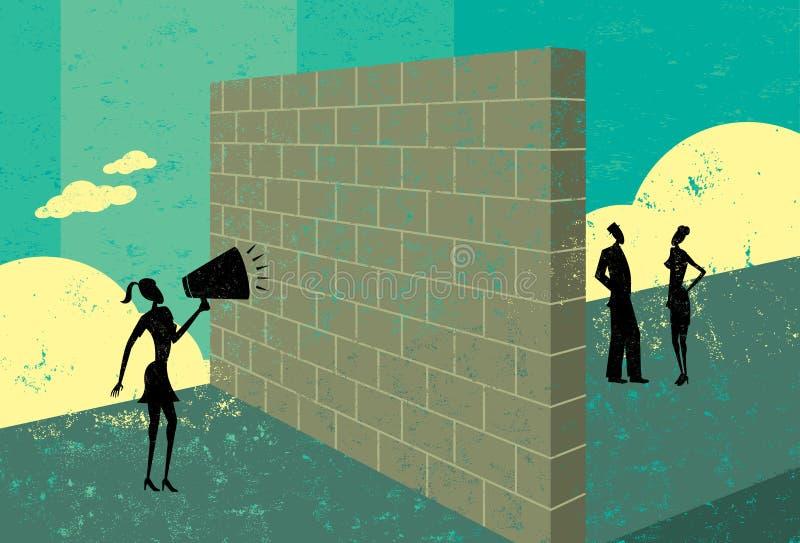 Gridando ad un muro di mattoni royalty illustrazione gratis
