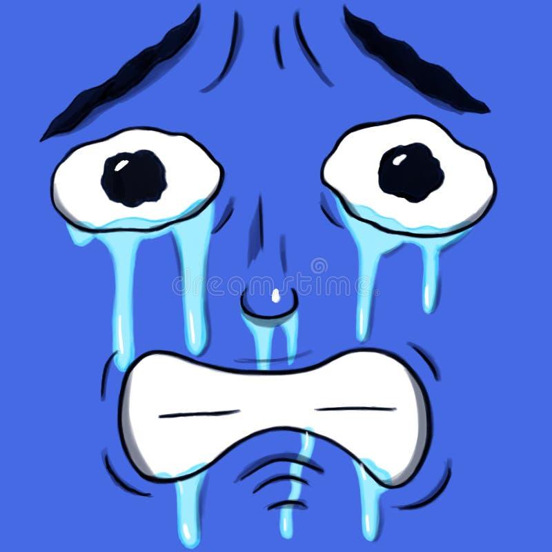 Gridando fronte triste isolato nel colore del blu di indaco illustrazione vettoriale