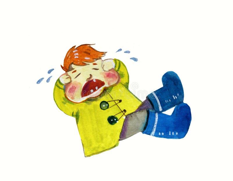Gridando il ragazzo della testarossa in cappotto giallo ed in stivali blu - illustrazione dell'acquerello del fumetto illustrazione di stock