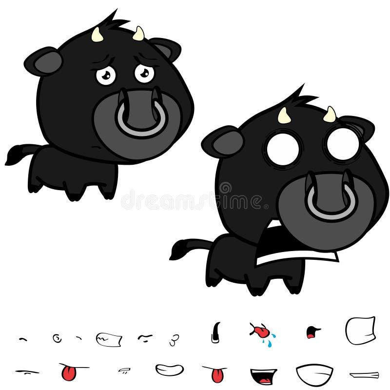 Gridando le espressioni nere cape poco grandi del toro fissate illustrazione di stock