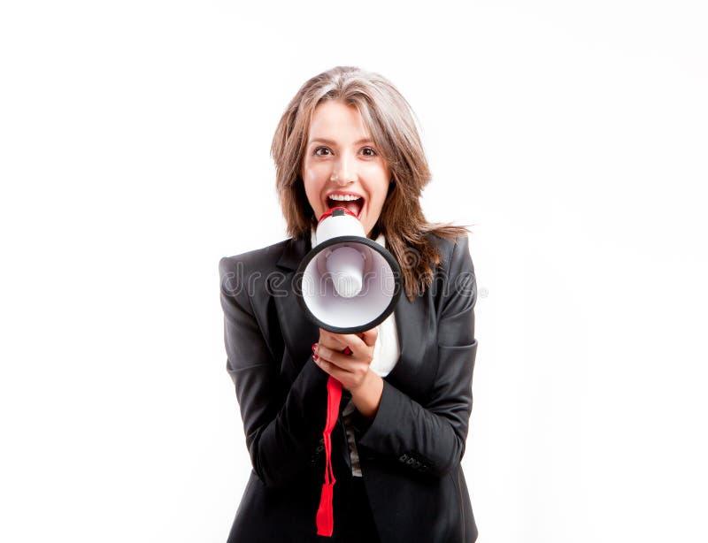 Gridando tramite il megafono fotografie stock
