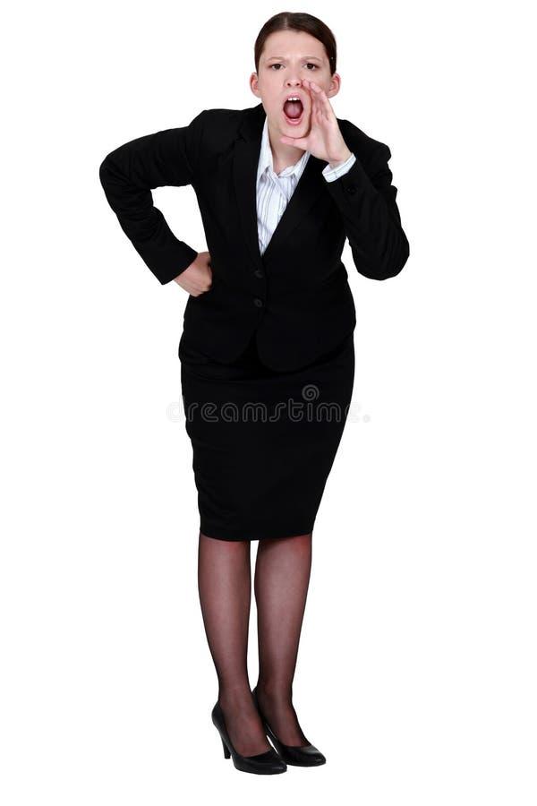 Gridare della donna di affari immagini stock libere da diritti