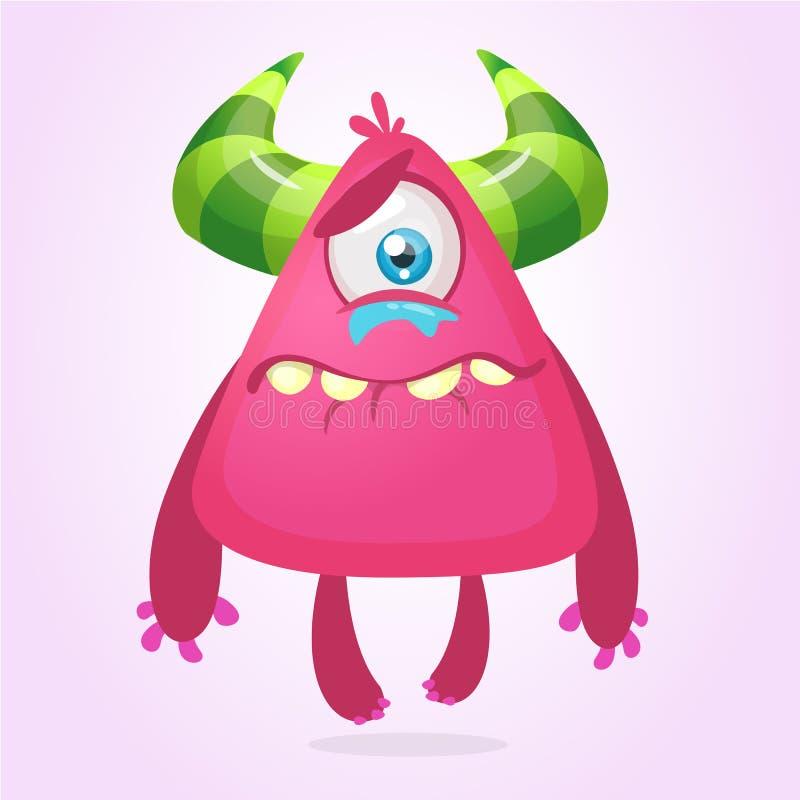 Gridare il fumetto turbato del mostro Mascotte rosa del carattere del mostro Illustrazione di vettore per Halloween illustrazione vettoriale
