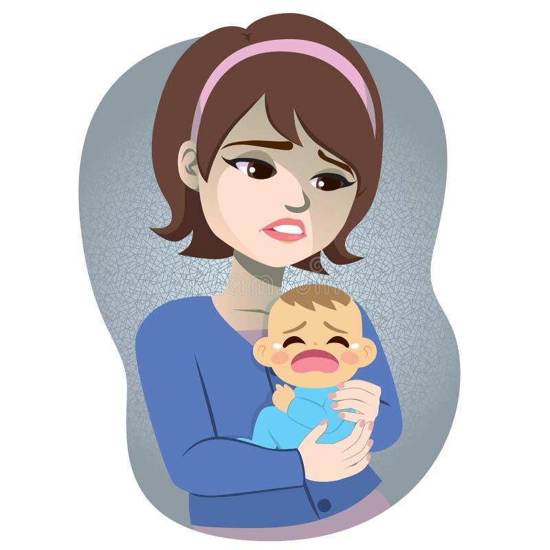 Gridare successivo al parto del bambino di depressione della donna royalty illustrazione gratis