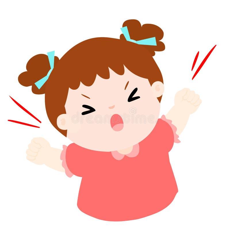Grido arrabbiato della ragazza fortemente sull'illustrazione bianca del fondo illustrazione di stock