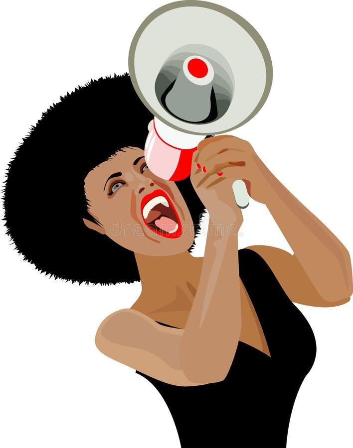Grido dell'altoparlante di comunicazioni di Afro royalty illustrazione gratis