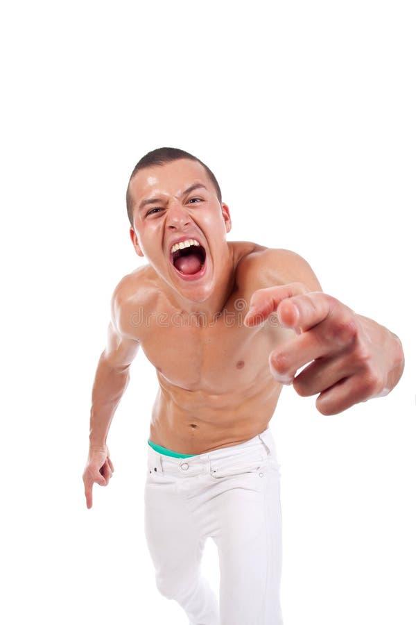 Grido dell'uomo muscolare fotografia stock