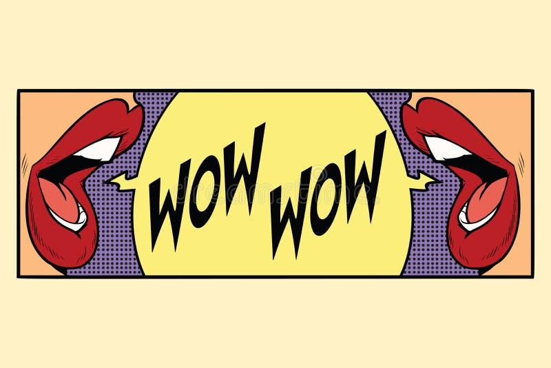 Grido femminile della bocca due wow illustrazione vettoriale