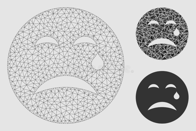 Grido Smiley Vector Mesh Carcass Model ed icona del mosaico del triangolo illustrazione vettoriale