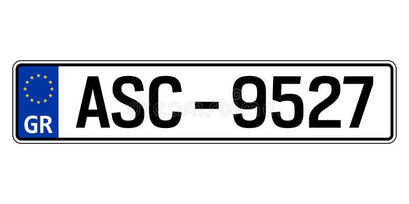 Griechenland-Autoplatte Polizeiliches Kennzeichen lizenzfreie abbildung