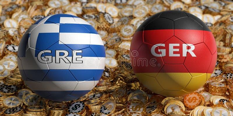 Griechenland /. Deutschland Fußball-Match - Fußball-Bälle in Griechenland und Deutschland - Nationalfarben auf dem Bett der gol stock abbildung