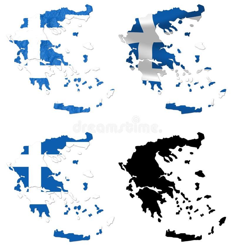 Griechenland-Flagge über Kartencollage stock abbildung