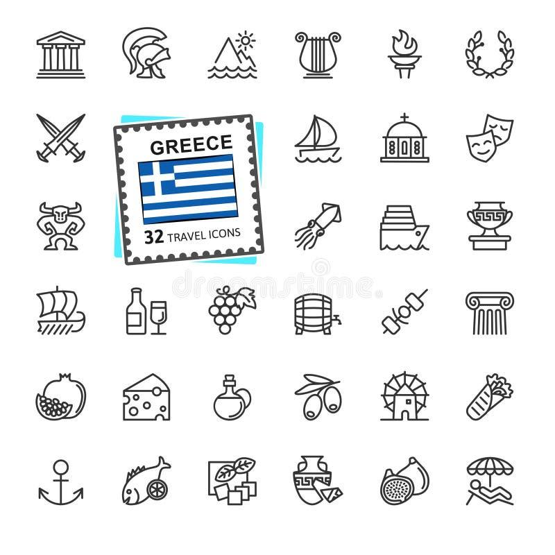 Griechenland, griechisch - minimale dünne Linie Netzikonensatz Entwurfsikonensammlung lizenzfreie abbildung