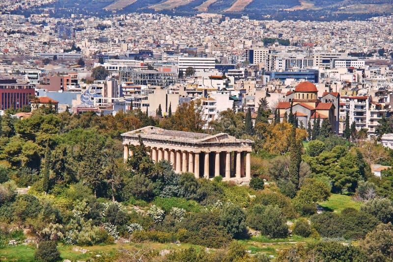Griechenland-, Hephaestus-Vulcan Tempel und Athen-Stadtbild stockbild