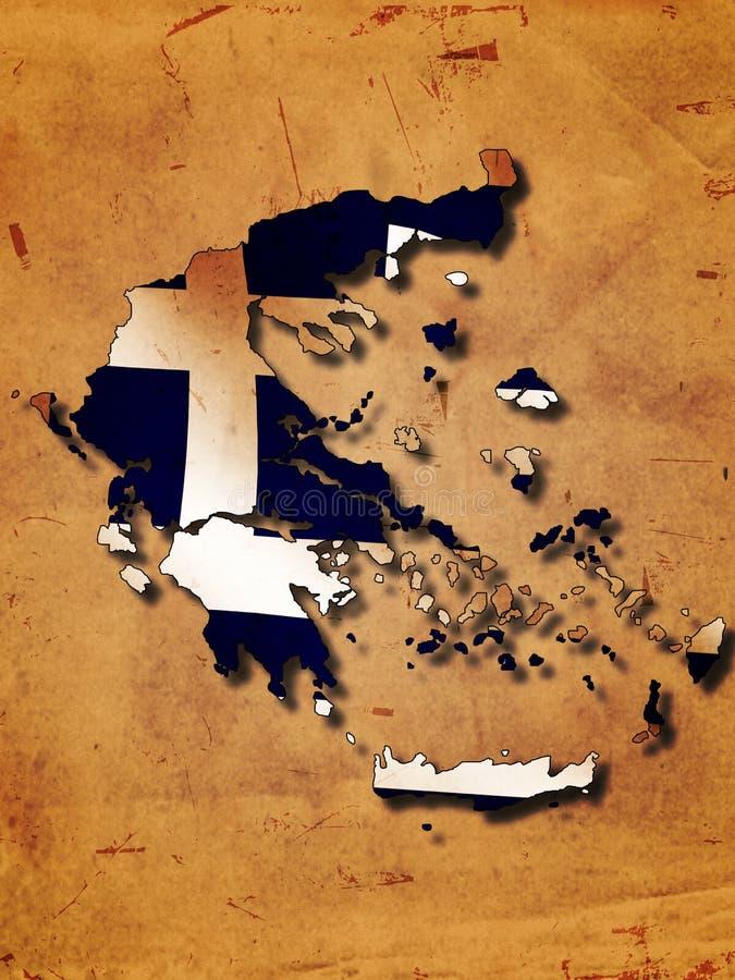 Griechenland-Karte mit Markierungsfahne stock abbildung