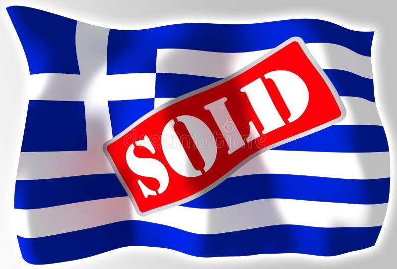 Griechenland-Krisenkonzeptmarkierungsfahne lizenzfreie abbildung