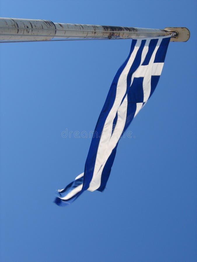 Griechenland-Markierungsfahne im Wind lizenzfreie stockfotos