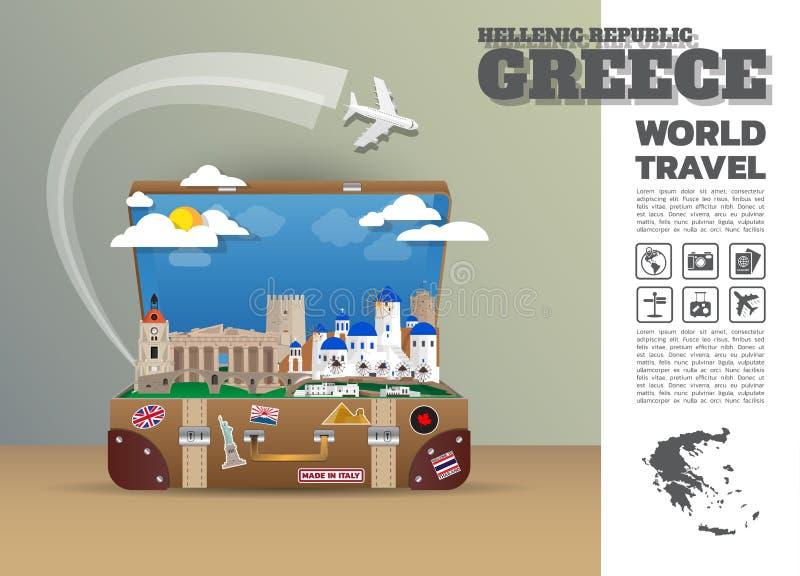 Griechenland-Markstein-globales Reise und Reise Infographic-Gepäck 3d lizenzfreie abbildung