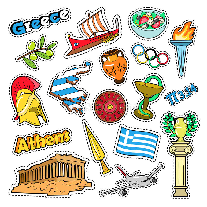 Griechenland-Reise-Elemente mit Architektur vektor abbildung