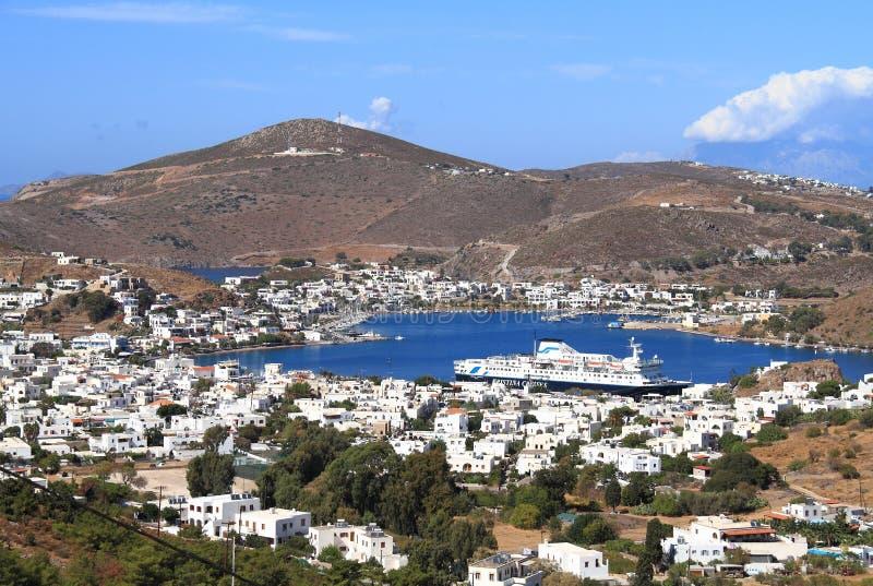 Griechenland: Skala, der Hafen von Patmos lizenzfreie stockfotos