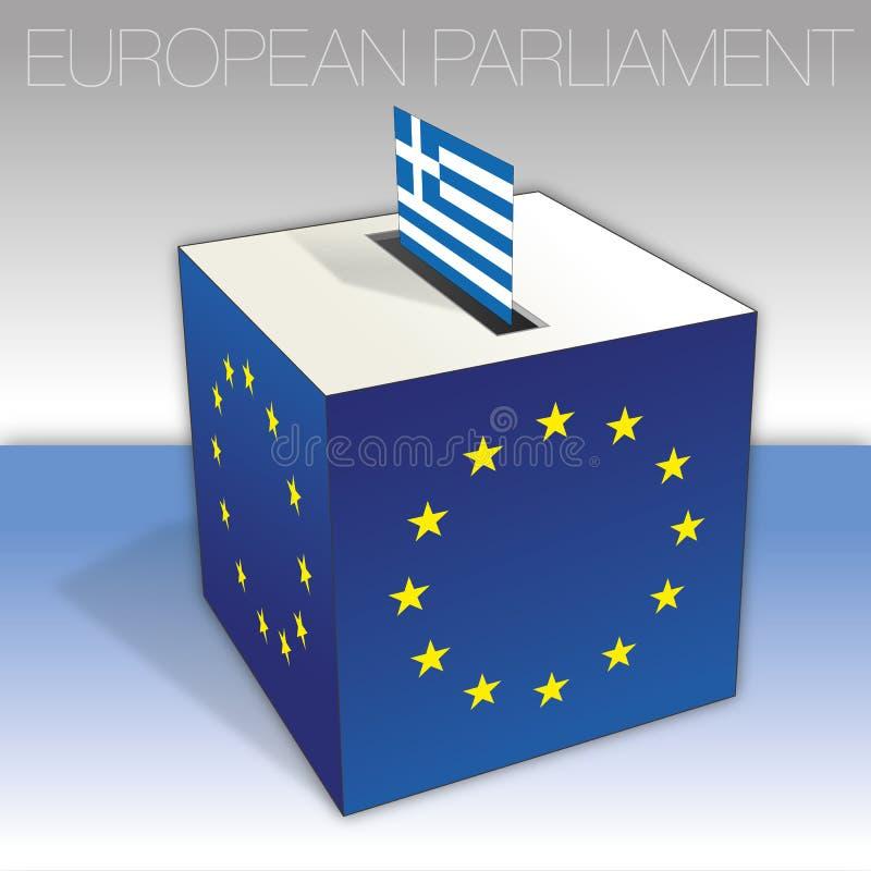 Griechenland, Wahlen des Europäischen Parlaments, Wahlurne und Flagge vektor abbildung