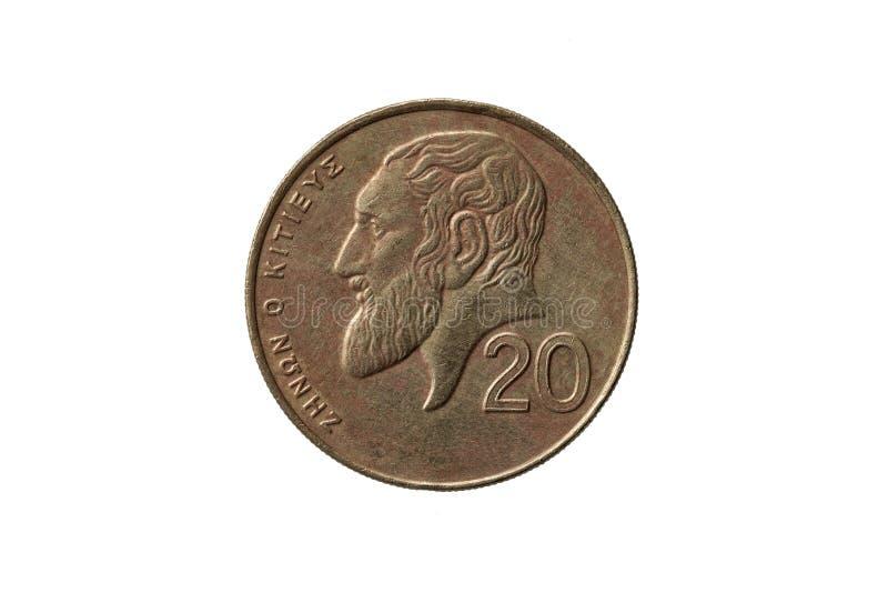 Griechische alte 20 Cents prägen Zeno von Citium stockfotos