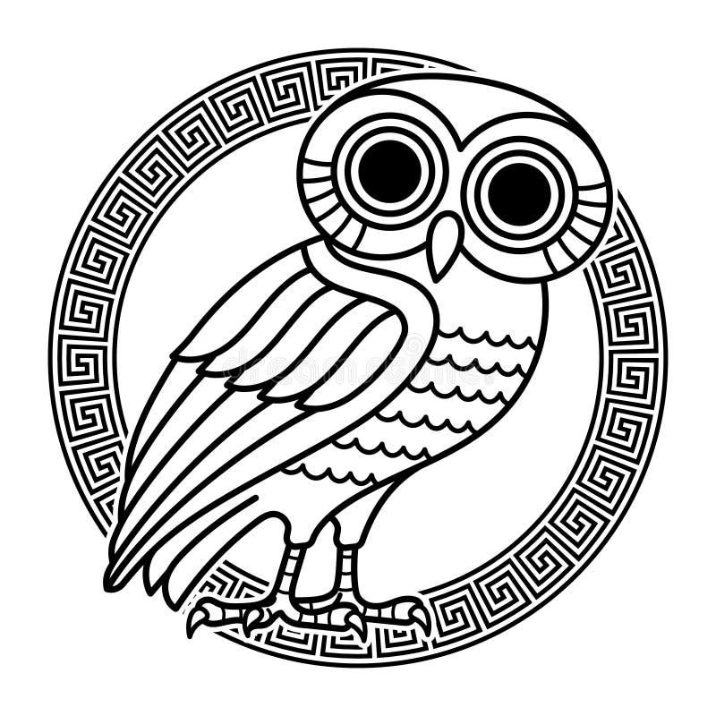 Griechische alte Münze von Athen, Weinleseillustration Alte gravierte Illustration einer Eule und griechischen der Verzierungswin vektor abbildung
