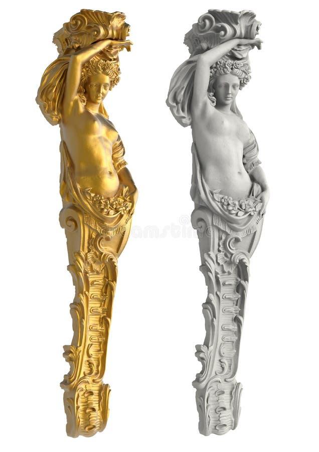 Griechische alte Statue der Karyatiden auf weißem Hintergrund stockbilder