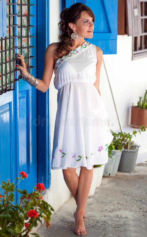 Griechische Frau stockfotos