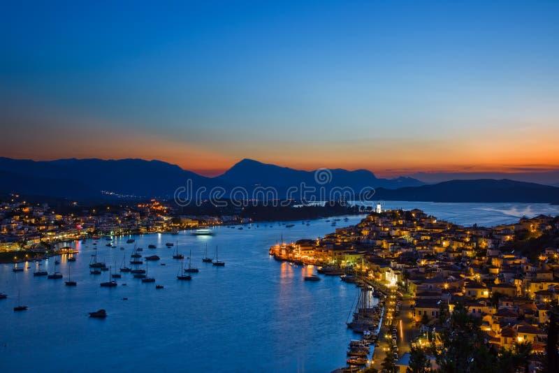 Griechische Insel Poros nachts stockfoto
