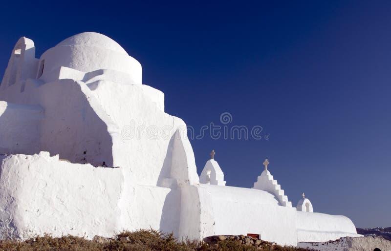 Griechische Kirche mykonos lizenzfreie stockfotografie