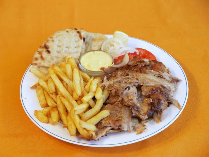 Griechische Kreiselkompaßmahlzeit stockfoto