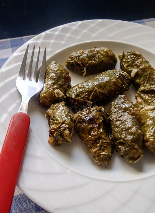 Griechische Nahrung Dolmades füllte Rebeblätter an lizenzfreie stockbilder