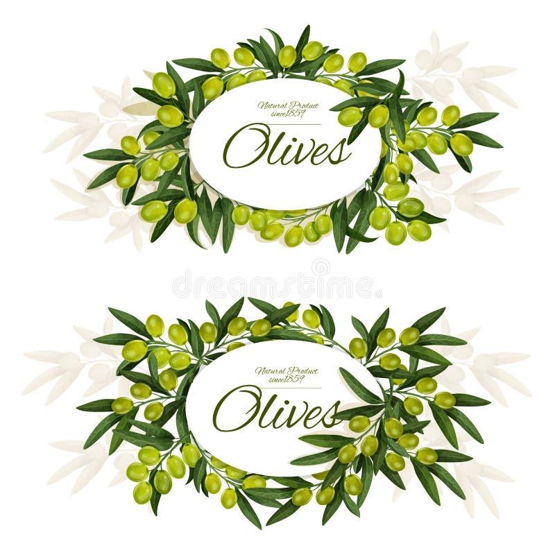 Griechische Oliven mit Blättern winden um Zeichenikonen stock abbildung