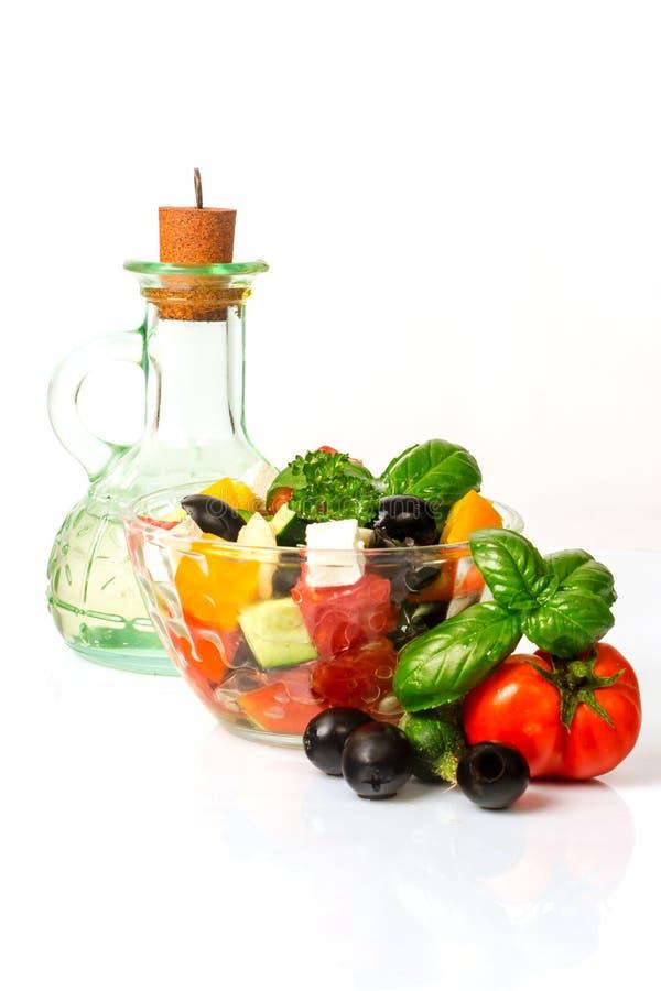 Griechische Salatsoße stockfotos