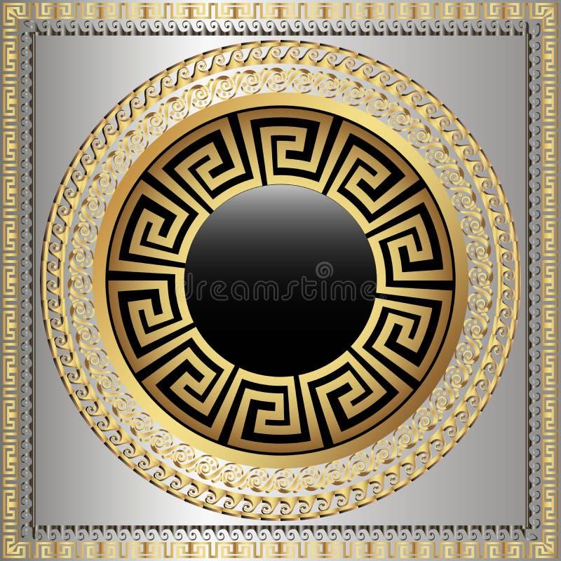 Griechische Schlüsselwindungen runden Muster der Mandala 3d Dekorativer griechischer Artgriechenland-Quadratrahmenhintergrund Mod lizenzfreie abbildung