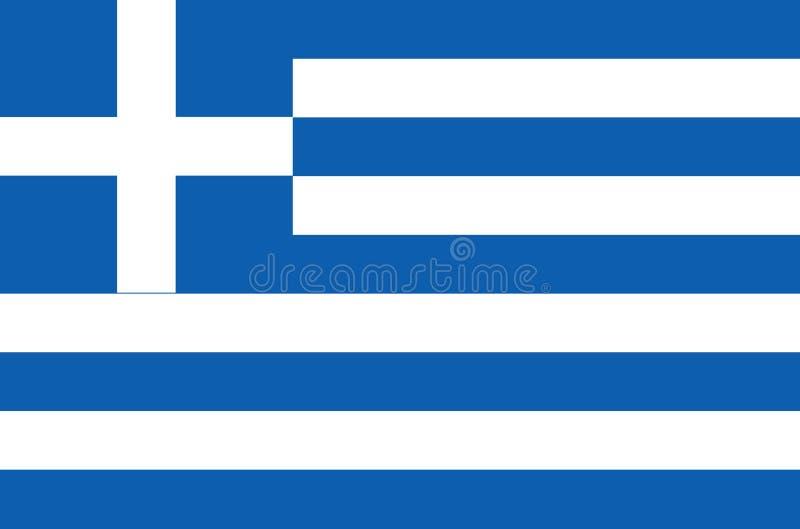 Griechische Staatsflagge, offizielle Flagge von genauen Farben Griechenlands lizenzfreie abbildung