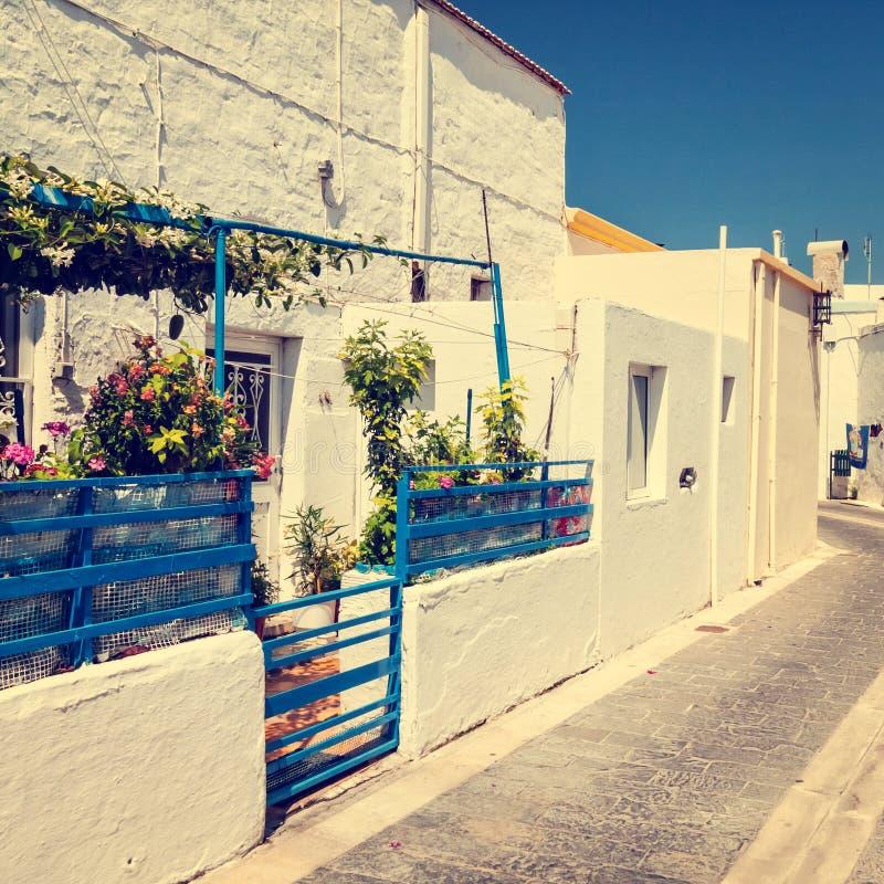Griechische Stadt stockbilder