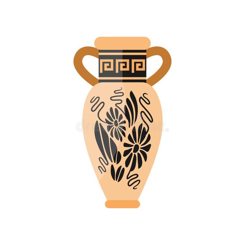 Griechischer alter alter Vase mit schöner Blumenverzierung lizenzfreie abbildung