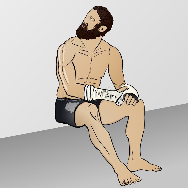 Griechischer Boxer von der komischen Illustration lizenzfreie stockfotografie