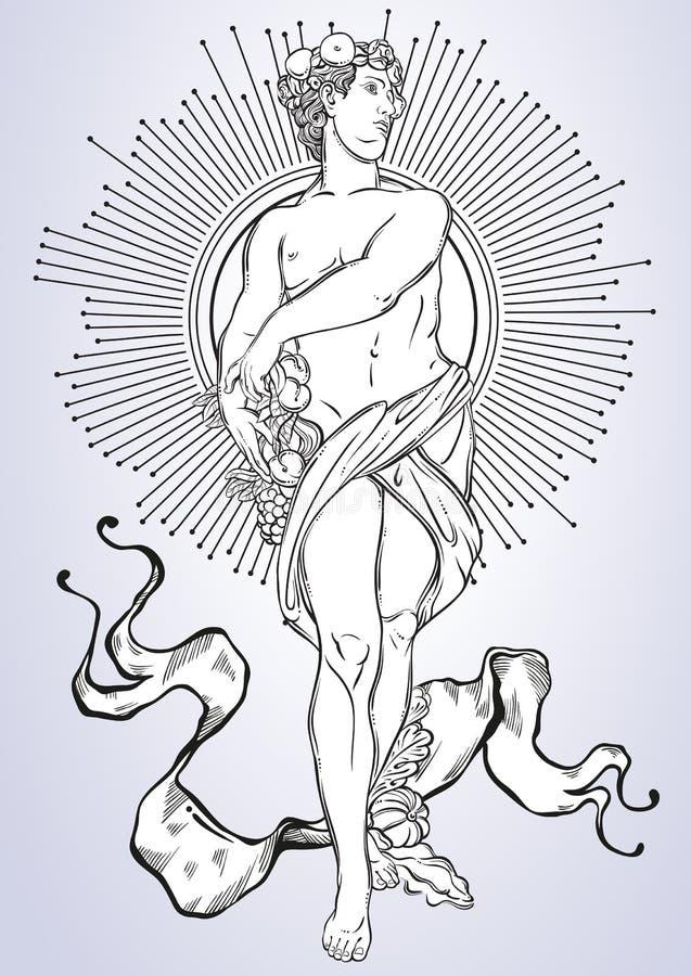 Griechischer Gott, der mythologische Held von altem Griechenland Von Hand gezeichnete schöne Vektorgrafik classicism Mythen und L lizenzfreie abbildung