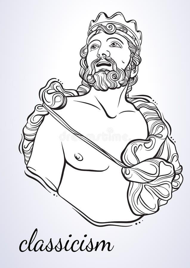 Griechischer Gott, der mythologische Held von altem Griechenland Von Hand gezeichnete schöne Vektorgrafik lokalisiert classicism  stock abbildung