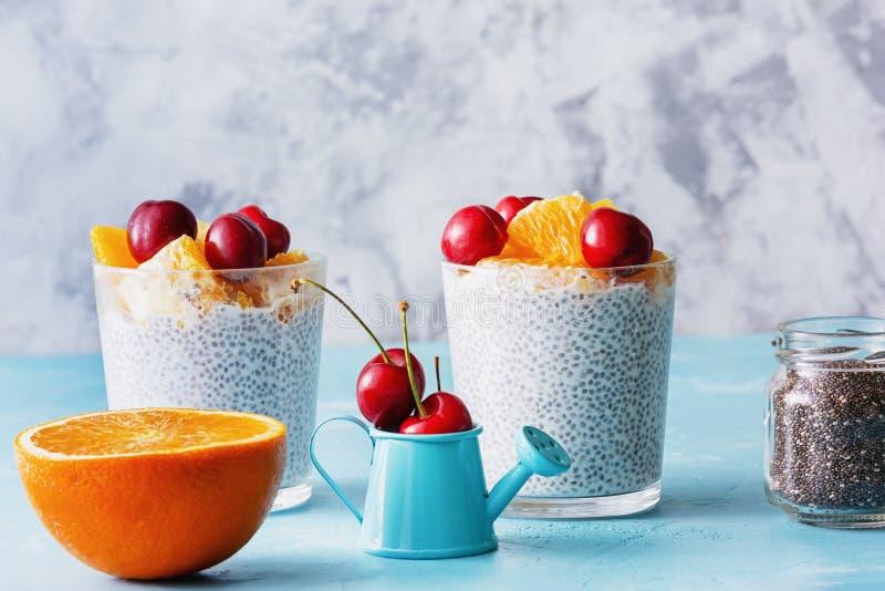 Griechischer Nachtisch des Jogurt-strengen Vegetariers mit Chia Seeds Grain lizenzfreie stockfotos