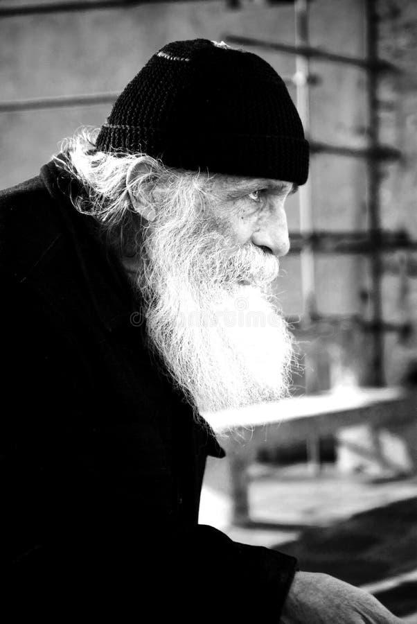 Griechischer orthodoxer Mönch stockfotos