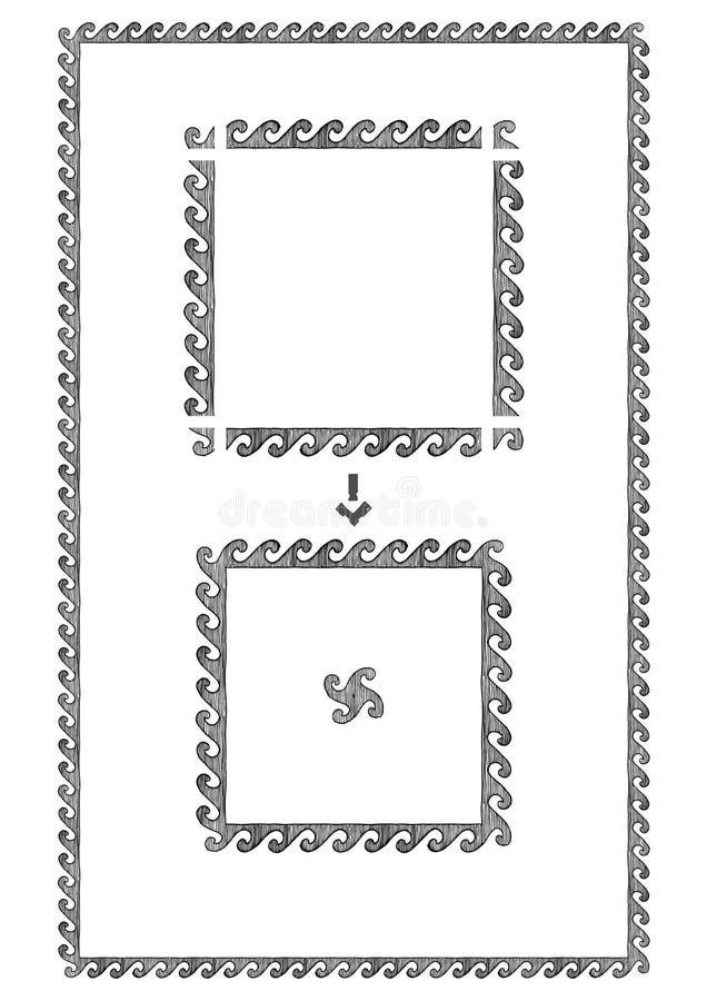 Griechischer Rahmen mit Welle stock abbildung